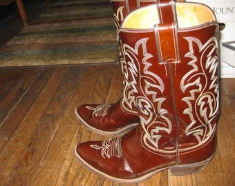 Justin brown patent leather men's cowboy boots w/white stitching 10D