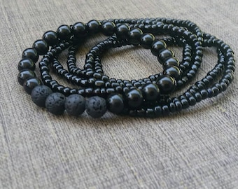 Essential oil Black beaded Bracelets lava beads, Healing, aromatherapy, fashionable, yoga