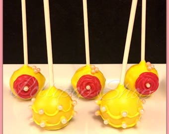12 Beauty and the Beast cake pops (Birthday, Disney, Belle, Princess, Party)