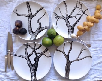 """Set of 4 dessert plates handpainted, original drawing titled """"Winter is coming"""""""