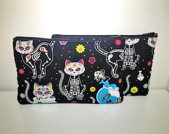 Day of Dead Cat Cosmetic Bag   Zipper Pouch   Toiletry Bag   Pencil Case   Gifts for Her   Makeup Bag