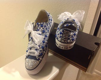 Blue & white converse pearl bling