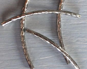 Set of striped curved tube beads