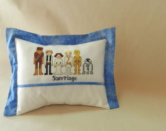 Two Handmade baby cushions with Cross-stitch