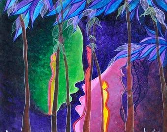 Original handmade abstract painting on Canvas-Utopian World