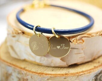 Leather Bracelet-engraved ~ flower ~ gold