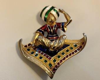 Vintage Enamel Aladdin Genie Magic Flying Carpet Costume Brooch Pin