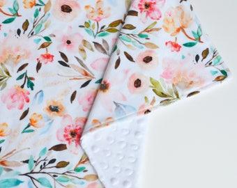 Baby Girl Lovey Blanket | Minky Floral Lovie | Toddler Security Blanket | Floral Baby Blanket | Mini Snuggle Blanket | Girl Shower Gift