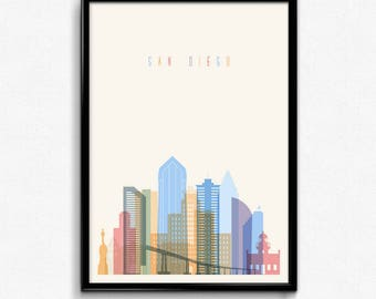 San Diego travel canvas art print poster