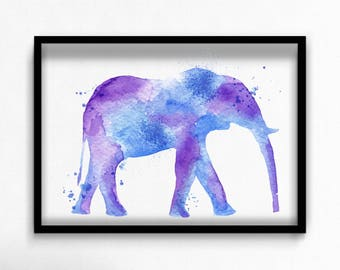 Watercolor elephant canvas art print poster