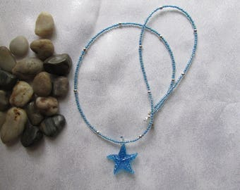 Blue Starfish Seed Bead Necklace