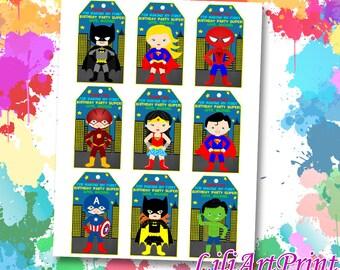 Superhero Favor Tag, Superhero Thank You Tags, Digital File