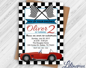 Race Car Birthday Invitation, Race Car Party Invite, 2nd Birthday Invitation, Vintage Race Car Invitation, Digital file.(3)