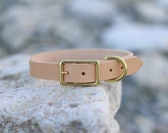 Scandinavian tan leather dog collar, handmade of natural veg tanned leather