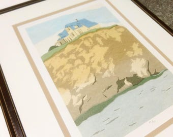 Original Limited Edition Signed Numbered 45/100 Anne Silber House on the Coast Framed Serigraph