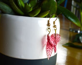 Handmade Leaf Earrings for Women/Girls, Fall/Summer/Spring, Pink/Gold, Bride/Bridesmaids/Parties