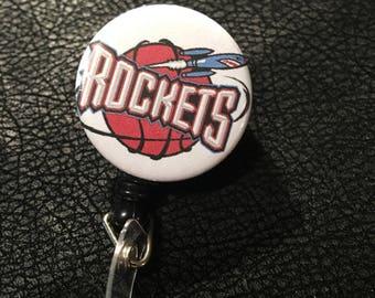 Houston Rockets basketball name badge holder