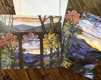 Set of 4 Tiffany Studio Stained Glass Notecards