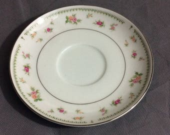 Vintage Abingdon Fine Porcelain China White with Pink & Orange Roses Saucer Made in Japan