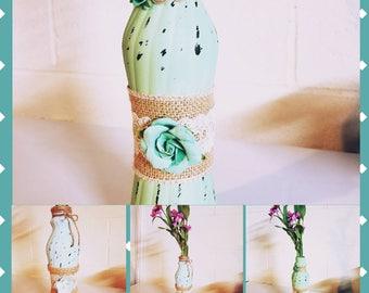Rustic meets shabby chic. vintage vases. Wedding decor. Upcycled vases. Vase set. Distressed decor. Bud vases. Baby shower decor.