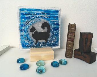 Moonshine. Free standing Glass Tile. Cat, Full Moon, Silhouette, glitter, for any cat lover