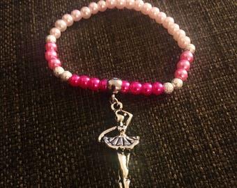 Ballerina Inspired Beaded Bracelet, Pink Bracelet, Dancer Bracelet