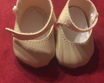 Small Cream soft doll shoe