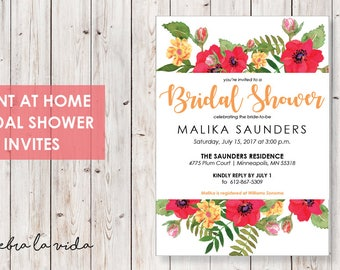Bridal Shower Invitation. Instant Download. Printable Bridal Shower Game. Orange. Yellow and Red Flowers. - 02