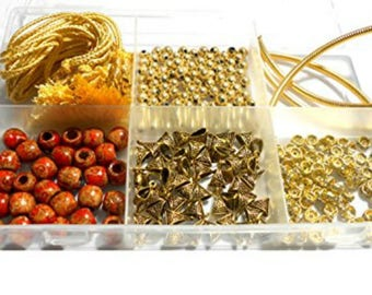 Silk thread necklace making all gold materials kit- with free necklace storage box