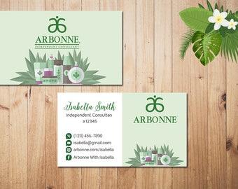 PERSONALIZED Arbonne Business Cards, Custom Arbonne Business, Green Arbonne Business Card, Custom Business Card, Printable Card AR01