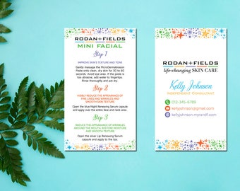PERSONALIZED Rodan and Fields Business Cards, Rodan and Fields Mini Facial Card, Fast Personalized, Modern Business Cards RF19