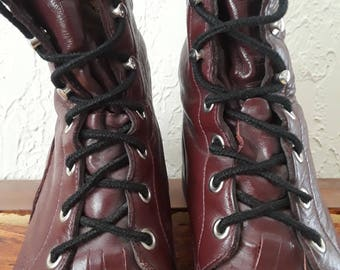 Vintage Deep Maroon Leather Justin's Lace-up Boots