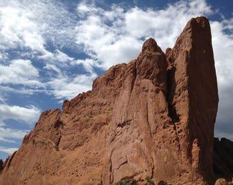 Scenic and artistic portrait of rock formations in Colorado Springs, Colorado