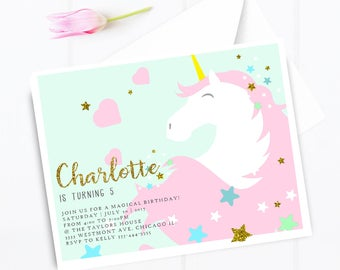 Unicorn birthday invitation, unicorn magical birthday party, unicorns and rainbows invitation,unicorn birthday unicorn birthday invitation
