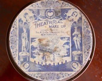 1906 Antique Theatrical Alpine Face Powder Make Up Tin