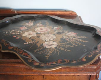 Consigned Pilgrim Art Tole Tray with Hand Painted Flowers