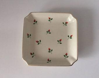 Otagiri Red Flower Square Plate | Otagiri | Japan | Vintage
