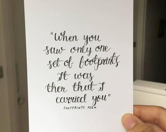 footprints poem quote | postcard