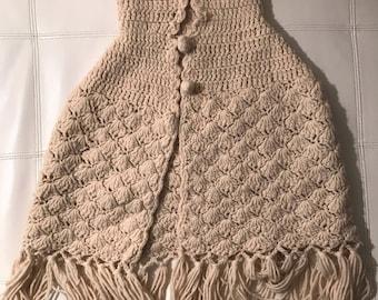 1960s Desert Dreams Crocheted Shawl / Poncho Handmade Festival Cape