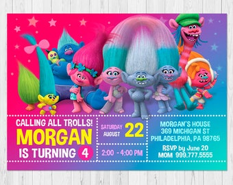TROLLS INVITATION, Trolls Birthday Invitation, Trolls Party Invitation Digital, Invites Trolls Birthday Party, FREE Trolls Thank You Card vB