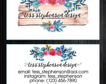 Wooden Watercolor Business Card / Rustic Business Cards / Custom Business Cards / DIGITAL DOWNLOAD