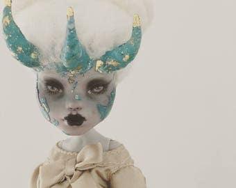MitsukuniAesthetics OOAK Monster High Doll Custom Repaint Art Doll Horned Girl