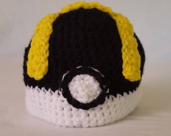 Crochet Pokemon Ultraball Baby Hat - 8 sizes