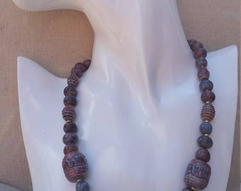 Handmade Ceramic beaded necklace and earrings on sterling sliver findings