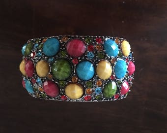 Vintage Multi Jeweled Metal Chunky Bangle Bracelet Red/Blue/Yellow/Green Silver