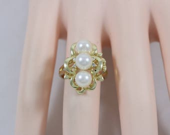 14k Yellow Gold 585 1mm Diamond 6mm Round Pearl Ring Size 7 4.9g