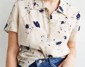 Vintage Silk Floral Button Up Blouse