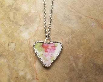 Broken China necklace. Broken China jewelry. Broken China pendant. Heart jewelry. Heart necklace