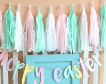 Easter Tassel garland, pink and blue Tassel garland