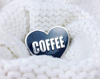 Heart enamel pin - Coffee pin - Enamel pin - Lapel pin - Coffee Lapel pin - Coffee Lover - Enamel Lapel pin - Coffee gift